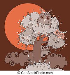 Owls in tree.