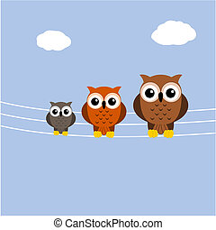 owls on a telephone cable