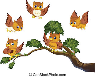 Owls on branch - Illustration of many owls on a branch