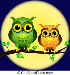 Pair of fun cartoon owls perched on branch on a night with full moon behind them.