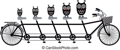 owls on tandem bicycle, vector - owl family on tandem...