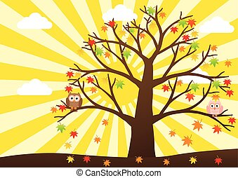 Owls on tree in autumn season and maple leaf fall with sun ray in background. Vector illustration flat design.