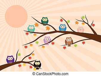 Owls on tree in autumn season and maple leaf fall with sun ray in background. Vector illustration flat design pastel color.