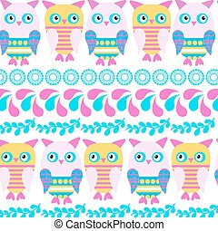 Owls  pattern, vector. Abstract animals design  illustration. Cute image