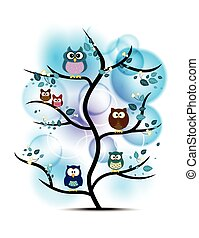Owls perched on a tree
