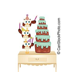 Scalable vectorial image representing a owls putting candle birthday cake, isolated on white.