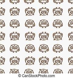 owls seamless pattern 1 - Cute seamless pattern with little...