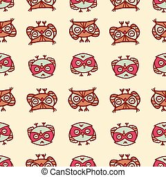 owls seamless pattern 2 - Cute seamless pattern with little...