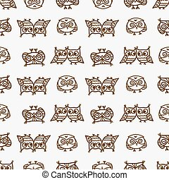 owls seamless pattern 3 - Cute seamless pattern with little...