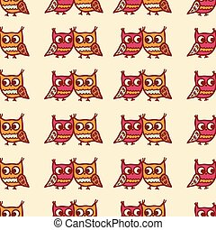 owls seamless pattern - Cute seamless pattern with little...