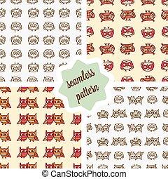 owls seamless patterns set - Cute seamless pattern set with...