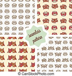 owls seamless patterns set - Cute seamless pattern set with...
