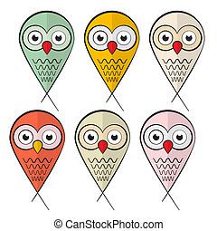 Owls Set Illustration Isolated on White Background