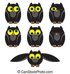 owls set - set vector image of owls