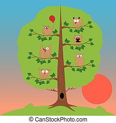owls sitting in a tree, sunset, funny owl