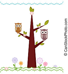 Owls  sitting on branches. Vector illustration