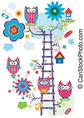 owl`s, träd