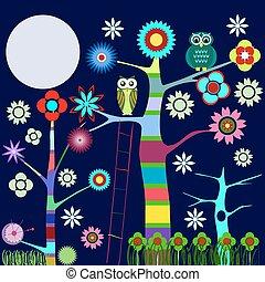 owl`s, træ, blokken, farverig
