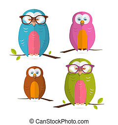 Owls Vector Illustration Set Isolated on White Background