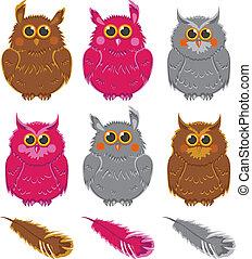 owls vector pink brown gray plumage
