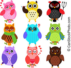 Owls with different characters - Set of Colorful Owls with...