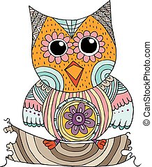 Owls with Flower Doodle Vector