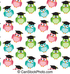 Owls with graduation caps seamless pattern, on transparent...