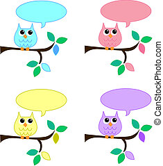 owls with speech bubbles