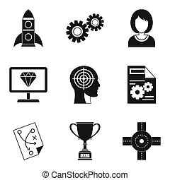 Own business icons set, simple style - Own business icons...