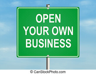 Own business. Road sign on the sky background. Raster...