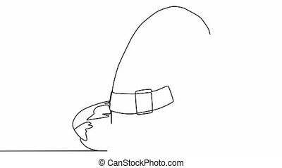 Own drawing animation of continuous one line drawing of an isolated object Halloween hat. Autumn holiday Halloween, magic, horror, fairy tale, magic characters, holiday.
