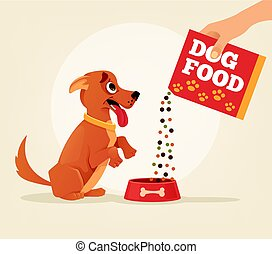 Owner hold carton box with food and feeding his happy smiling dog friend character. Vector flat cartoon illustration