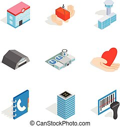 Owner of apartment icons set, isometric style - Owner of...