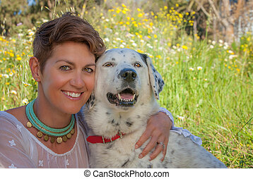 owner with mixed breed pet mongrel dog