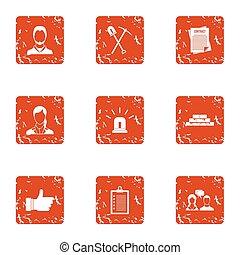 Ownership icons set, grunge style