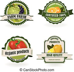 owoc, świeży, komplet, organiczny, etykiety
