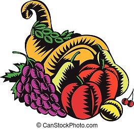 owoc, żniwa, drzeworyt, cornucopia
