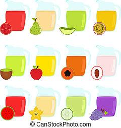 owoc, dzbanki, wypełniony, juicepomegra