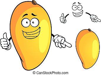 owoc, litera, rysunek, żółty, mangowiec