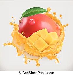 owoc, mangowiec, wektor, juice., świeży, 3d, ikona
