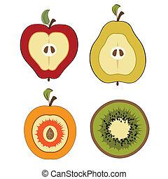 owoc, odizolowany, pół, pozycje, cięty