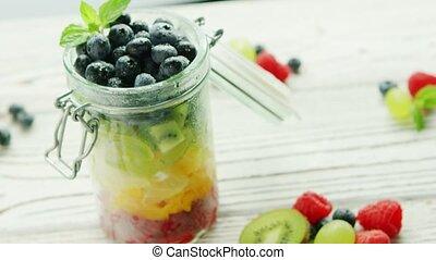 owoc, słój, wypełniony, barwny