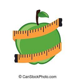 owoc, taśma, jabłko, miara