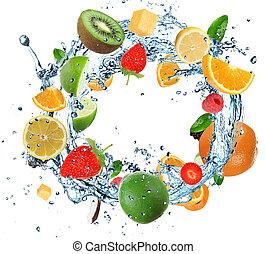 owoc, w, woda, ring