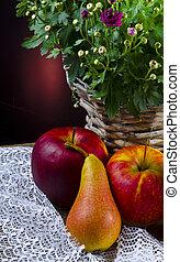 owoc, z, kwiaty