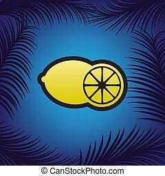 owoce, cytryna, poznaczcie., vector., złoty, ikona, z,...