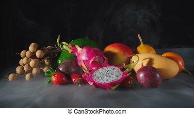 owoce, egzotyczny, dym, biały, długość mierzona w stopach