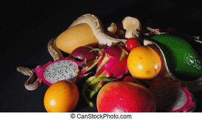 owoce, egzotyczny, polowanie, pyton, pełzając
