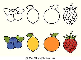 owoce, koloryt książka, dzieciaki