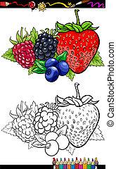 owoce, koloryt książka, ilustracja, jagoda